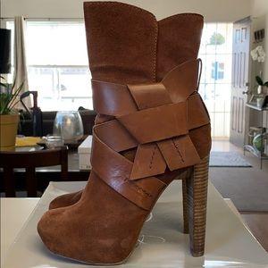 Brown Suede Booties with heel